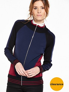 v-by-very-colour-block-zip-up-compact-knit-bomber