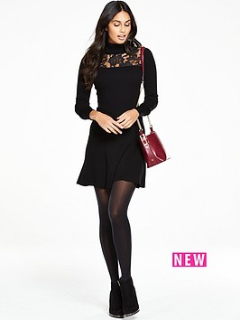 v-by-very-roll-neck-lace-yoke-jumper-dress