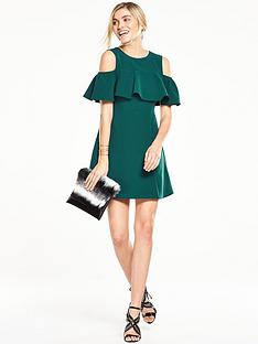 v-by-very-ruffle-front-cold-shoulder-dress