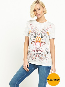 river-island-floral-print-fitted-t-shirt-white