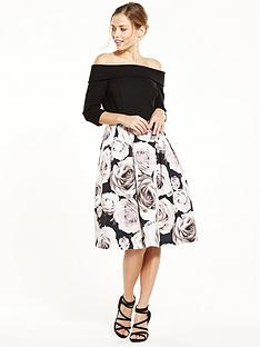 v-by-very-premium-bardot-prom-printed-midi-dress