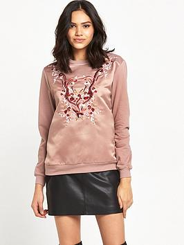 river-island-satin-embroidered-sweat-top-pink
