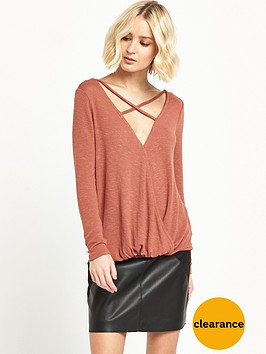 river-island-strappy-wrap-front-jumper-rust