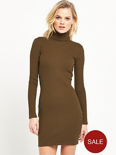river-island-knitted-roll-neck-bodycon-dress-green
