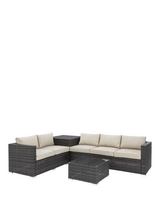 Coral Bay 5 Seater Corner Garden Sofa With Storage And Table