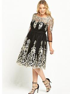 chi-chi-london-curve-long-sleeve-embroidered-fit-and-flare-dress-blackgold