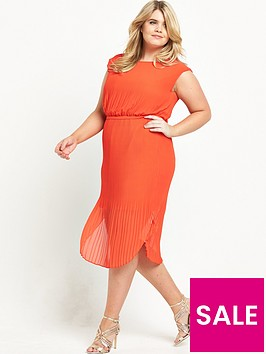 v-by-very-curve-curve-belted-pleated-dress-orange