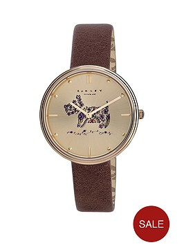 radley-radley-gold-tone-dog-dial-brown-leather-strap-ladies-watch