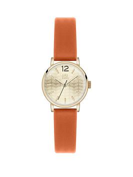 orla-kiely-orla-kiely-gold-dial-orange-strap-ladies-watch
