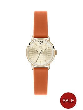 orla-kiely-orla-kiely-gold-dial-orange-strap-ladies-watch