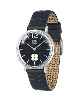 orla-kiely-orla-kiely-frankie-black-dial-black-embossed-strap-ladies-watch