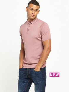 river-island-short-sleeve-knitted-polo-top