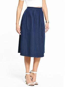 v-by-very-midi-pleat-denim-skirt-dark-blue