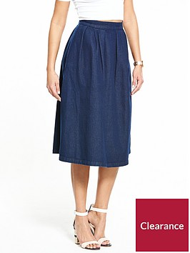 v-by-very-midi-pleat-denim-skirt-dark-blue
