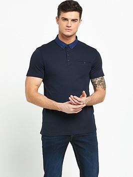 river-island-woven-collar-short-sleeve-polo