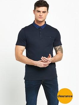 river-island-woven-collar-short-sleeve-polo
