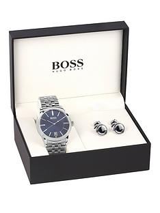 hugo-boss-black-blue-dial-stainless-steel-bracelet-mens-watch-amp-cuff-link-gift-set