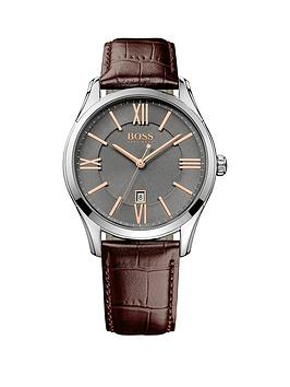 hugo-boss-black-ambassador-grey-dial-rose-tone-accents-brown-leather-strap-mens-watch