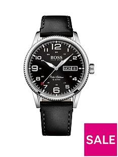 boss-pilot-vintage-black-dial-black-leather-mens-watch