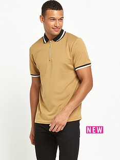 river-island-zip-placket-short-sleeve-polo