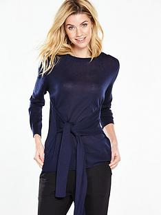 v-by-very-crew-neck-12-sleeve-tie-front-jumper