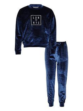 river-island-girls-blue-velvet-sweatshirt-joggers-set