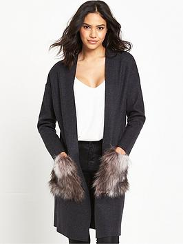 lost-ink-longline-cardigan-with-faux-fur-pockets-grey