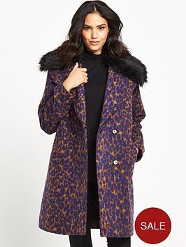 lost-ink-leopard-jacquard-faux-fur-collar-coat-brown