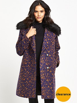 lost-ink-leopard-jacquard-faux-fur-collar-coat-brown