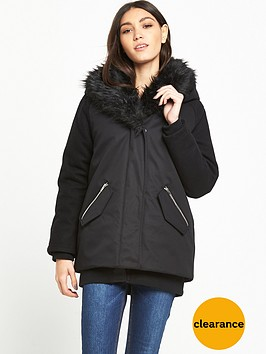 lost-ink-shawl-faux-fur-parka-black
