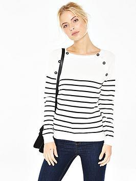 v-by-very-stripe-button-detail-jumper
