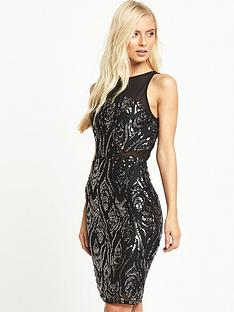 tfnc-remy-sequin-midi-bodycon-dress-black