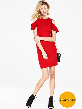 v-by-very-frill-cold-shoulder-knitted-dress