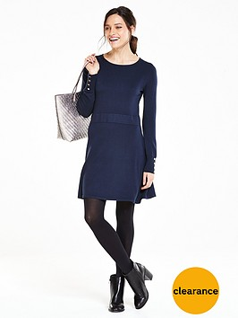 v-by-very-button-cuff-knitted-fit-and-flare-dress