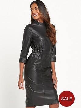 lost-ink-leather-dress-black