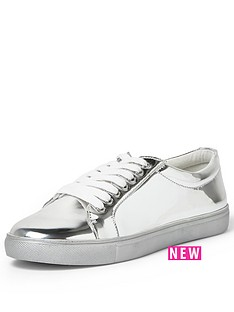 river-island-paquito-silver-and-silver-lace-up-trainer