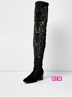 river-island-velvet-embroidered-boot-black