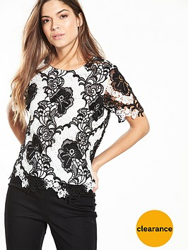 v-by-very-lace-short-sleeve-blouse-monochromenbsp