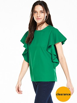 v-by-very-batwing-frill-sleeve-blouse-greennbsp