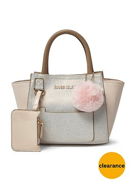 river-island-river-island-girls-metallic-winged-tote-with-pom-pom-detail