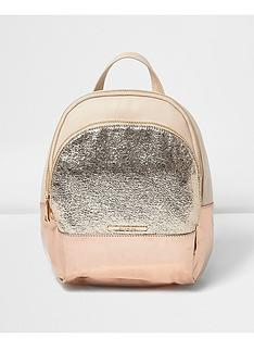 river-island-girls-rose-gold-glitter-backpack