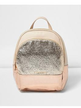 river-island-girls-rose-gold-glitter-backpack