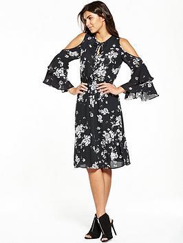 v-by-very-printed-cold-shoulder-midi-dress