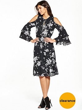 v-by-very-printed-cold-shoulder-midi-dress