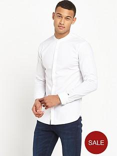 hilfiger-denim-dot-dobby-grandad-collar-long-sleeve-shirt