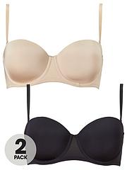 355e474b9fd6 DORINA Bandeau Multiway Bra with Extra Straps (2 Pack) - Black/Nude