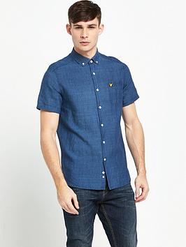 lyle-scott-indigo-short-sleeve-shirt