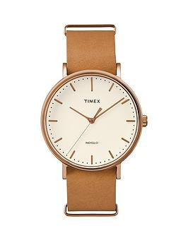 timex-timex-unisex-fairfield-white-dial-brown-leather-strap-watch