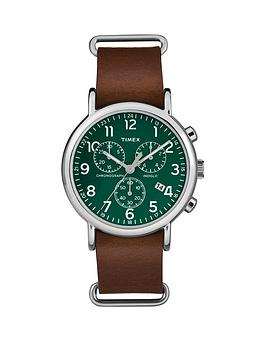 timex-timex-unisex-weekender-chronograph-green-dial-with-brown-leather-strap-watch