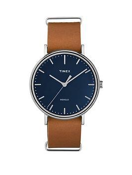 timex-timex-fairfield-dark-blue-dial-brown-strap-mens-watch